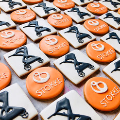 These hand iced logo biscuits were for Stokke