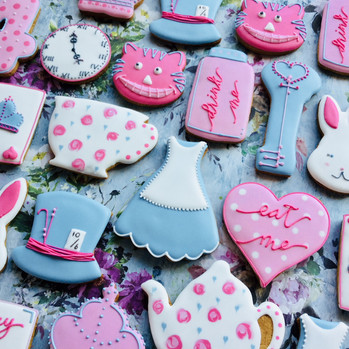Alice in Wonderland themed iced biscuits