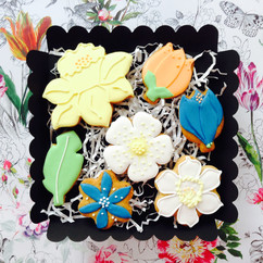 Pale Spring flower iced biscuits