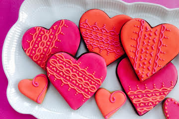 Valentine's heart iced biscuits with lace detail