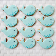 Cute whale iced biscuits for Annika