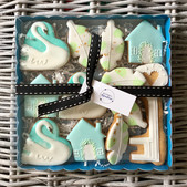 A housewarming iced biscuit gift