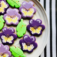 Purple pansy and leaf biscuits