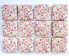 Pretty floral square iced biscuits