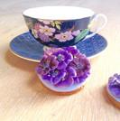 Pretty purple flower biscuits