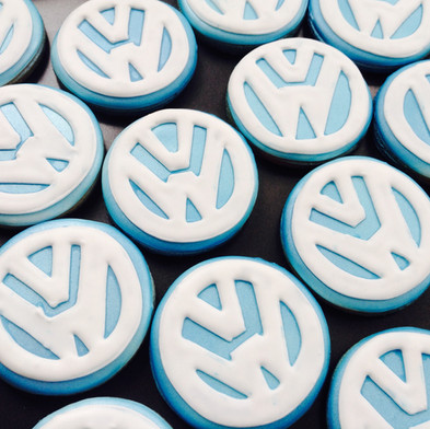 Volkswagen badge logo iced biscuits - hand iced