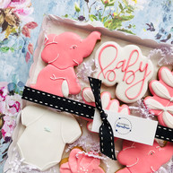 Cute elephant and leaf themed biscuits