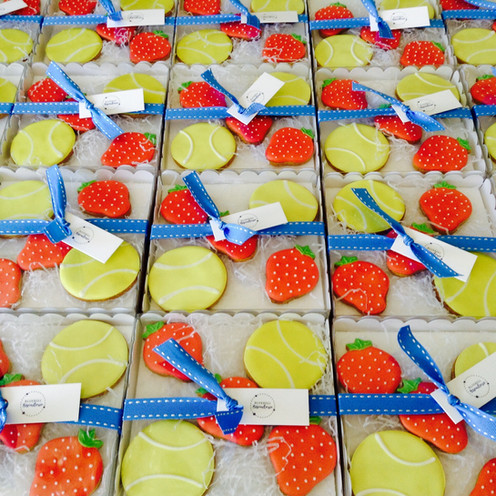 Corporate bespoke hand iced biscuit gifts to celebrate Wimbledon