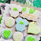 Jungle themed new baby gift iced biscuits