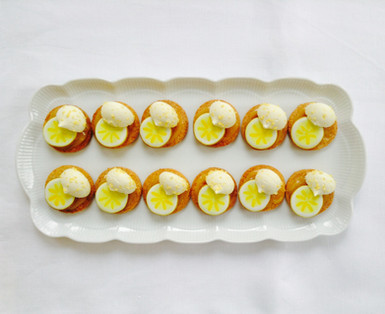 Deconstructed Lemon Meringue Pies with painted lemon iced biscuits