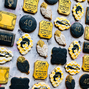 Great Gatsby themed biscuits for a big birthday bash