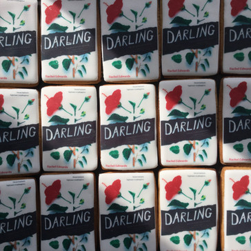 Book cover biscuits for a book launch - printed icing