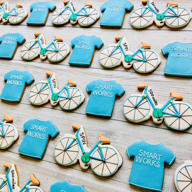 Bespoke biscuits for Smart Works - for a Spin for Smart Works fundraiser - hand iced