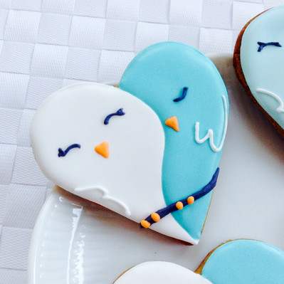 Love birds iced biscuits