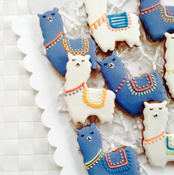 Cute alpaca iced biscuits for Alfie
