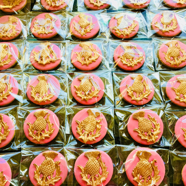 Thistle iced biscuit favours