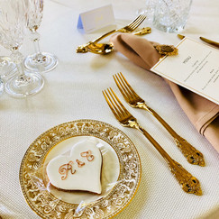 Simple hand iced hearts with gold initials