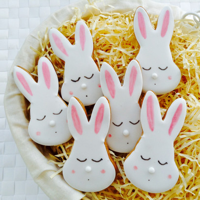 A dozen sleeping bunny iced biscuits