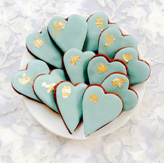 Mini hearts with edible gold leaf