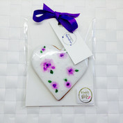 Handpainted purple flower iced biscuit favour