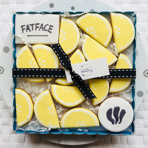 Fat Face logo biscuits - hand iced