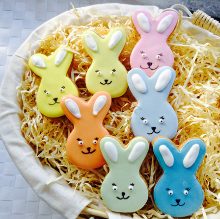 Our coloured bunny iced biscuits