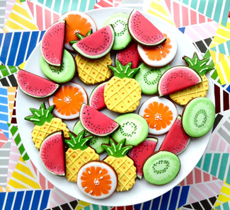 Fruit salad iced biscuits
