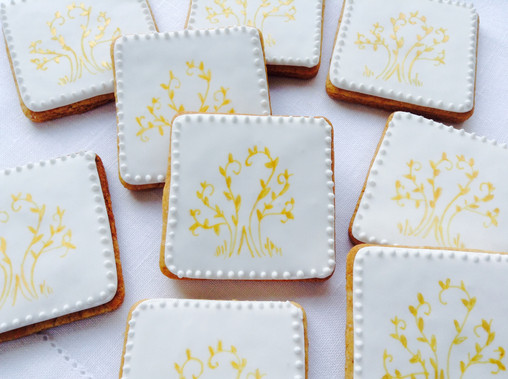 Pretty hand painted gold tree design on square biscuits