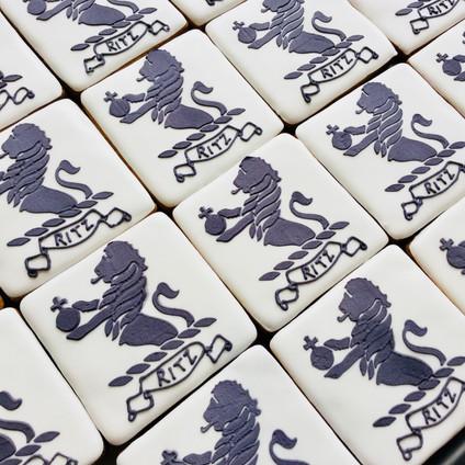 Ritz London logo biscuits - stencilledand hand iced