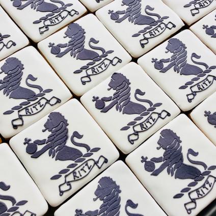 Ritz London logo biscuits - stencilledand hand iced