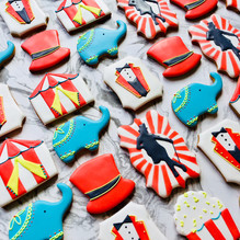 Greatest Showman circus themed iced biscuits