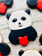 Panda with heart Valentine's biscuits