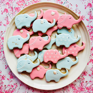 Pink and blue elephant iced biscuits