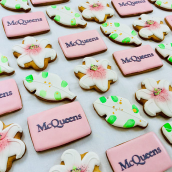 Bespoke hand iced biscuits for McQueens florist / floral brand