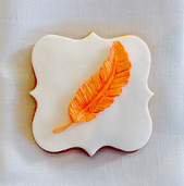 Simple leaf plaque iced biscuit
