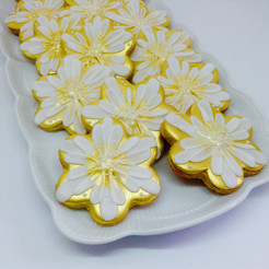 Gold flower iced biscuits