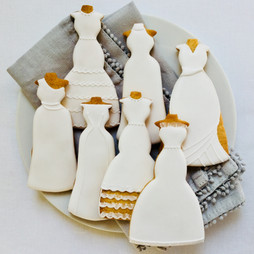 Wedding dress iced biscuits