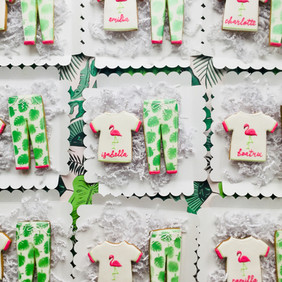 Personalised flamingo and palm leaf PJ iced biscuits