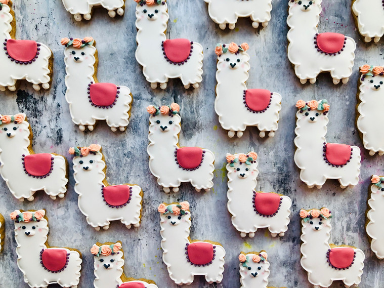 Cute alpaca themed biscuits