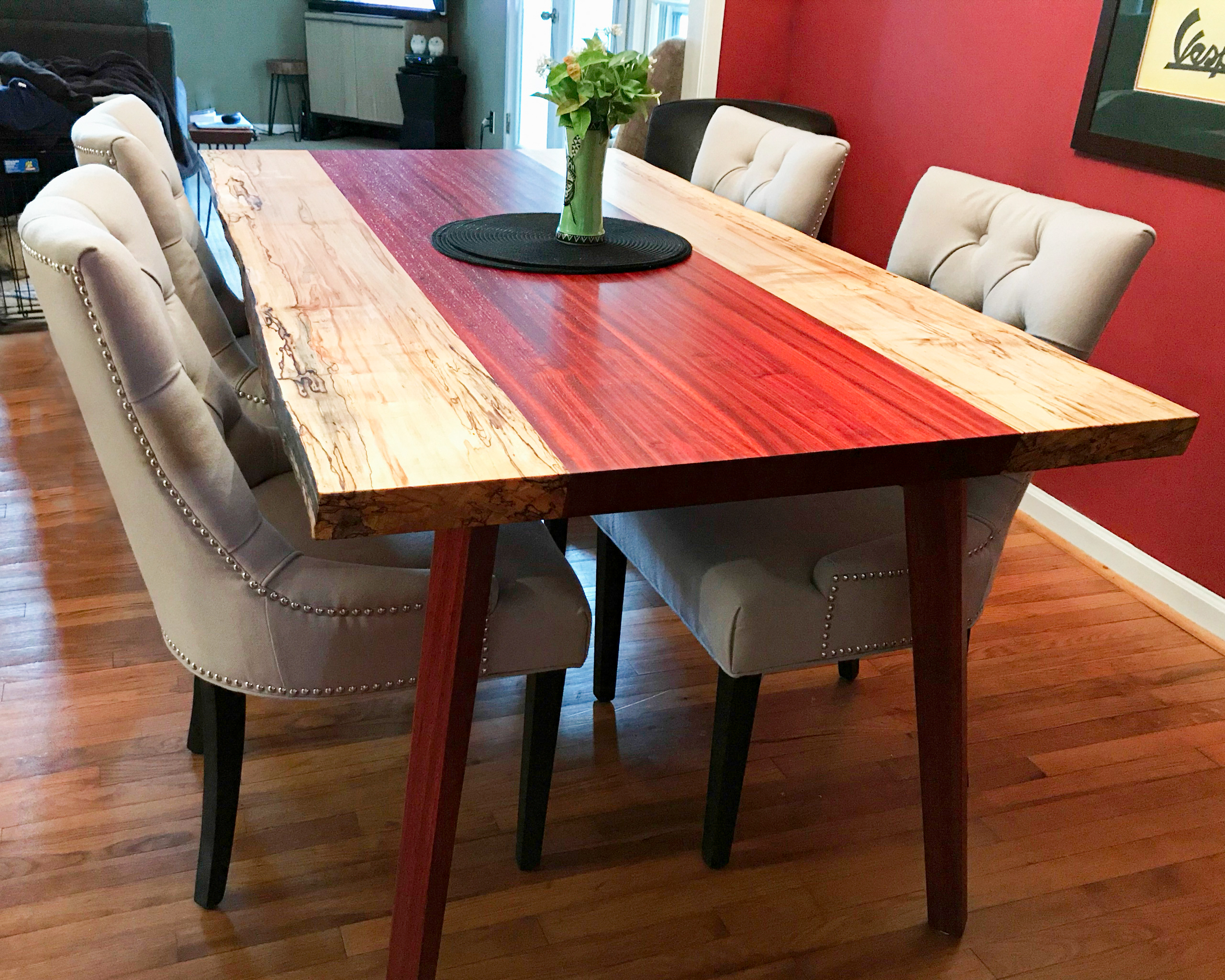Live Edge Padauk & Maple Table