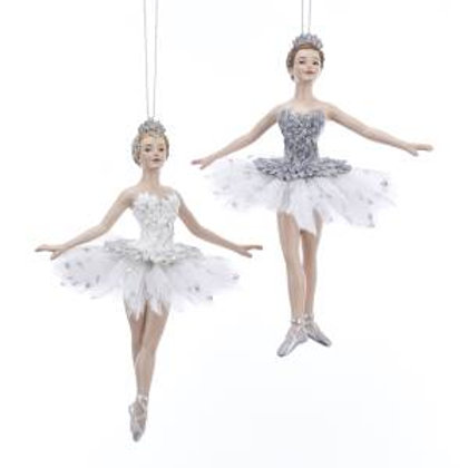 White & Silver Ballerina Ornaments