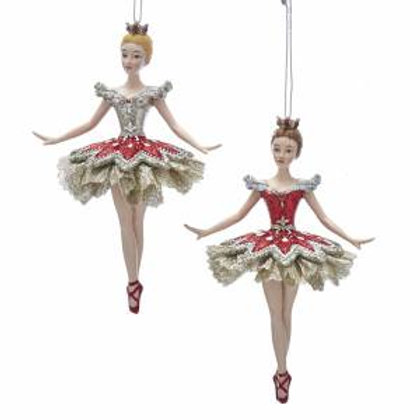 Ruby & Platinum Ballerina Ornaments