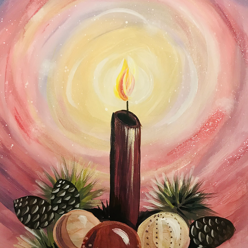 Live Paint Along - The Candle - Paint Your Own Christmas Cards!