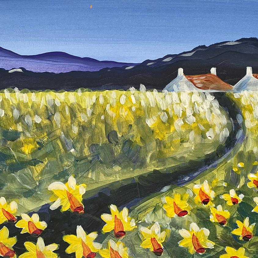 7pm ZOOM Paint Along - Daffodil Farm