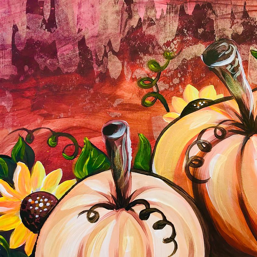 Halloween Live Paint Along - Sunflowers & Pumpkins  (1)
