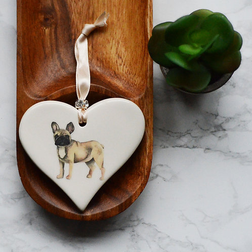 French Bulldog Ceramic Heart