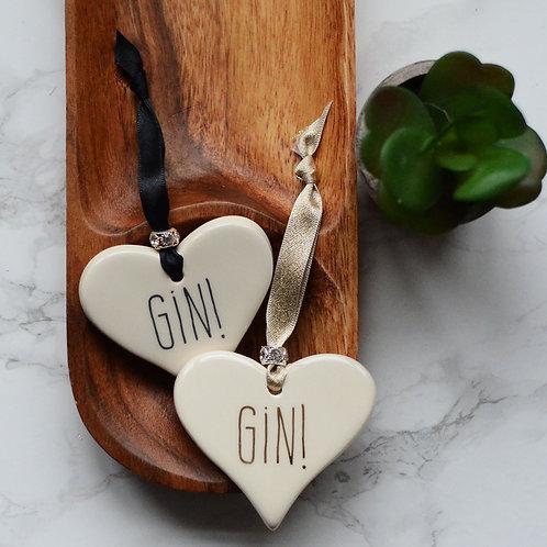 Gin or Prosecco Ceramic Heart