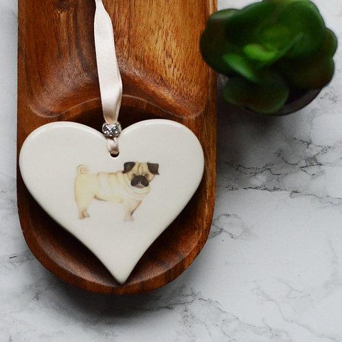 Pug Ceramic Heart
