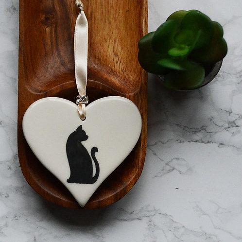 Cat Ceramic Heart