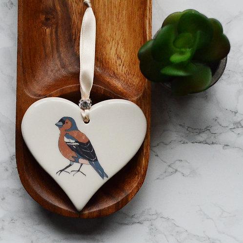 Chaffinch Ceramic Heart